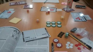 Complex 214 game components on the table